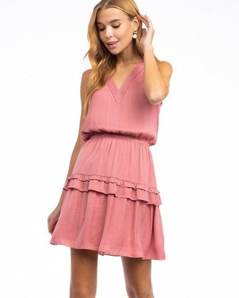Scarlett Pleated VNeck Dress