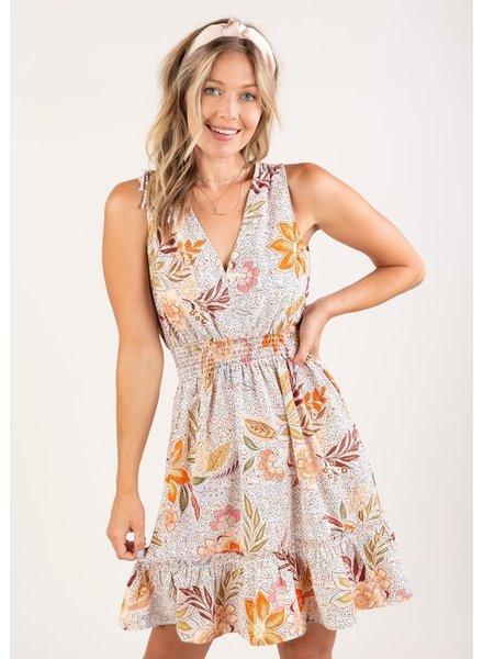 Come Back Floral S/L Mini Dress