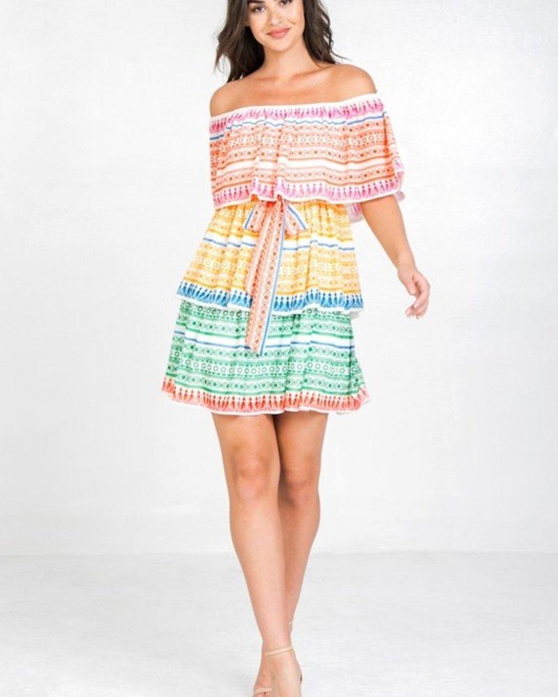 Nora OTS Print Dress