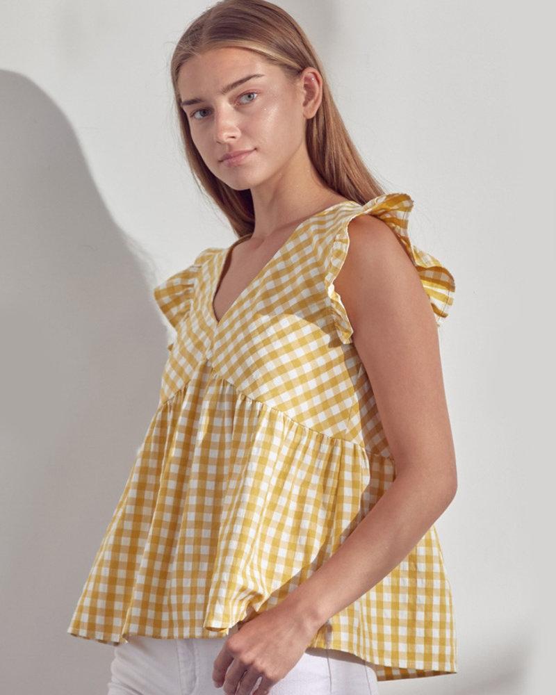 Beth Gingham Flutter Sleeve Top