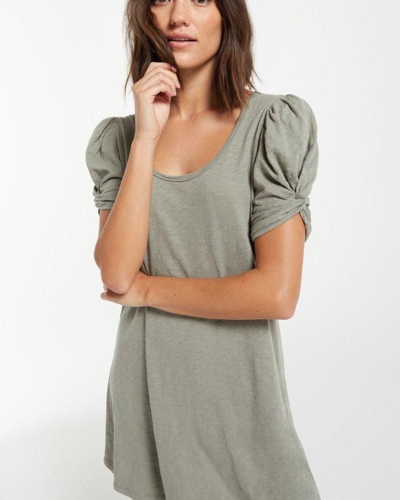 Indi Slub Puff Sleeve Dress