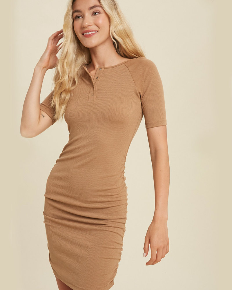Braelynn S/S Rib Button Dress