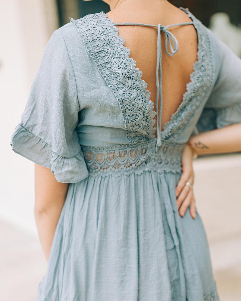 Ally Flowy Sleeve Lace Mini Dress