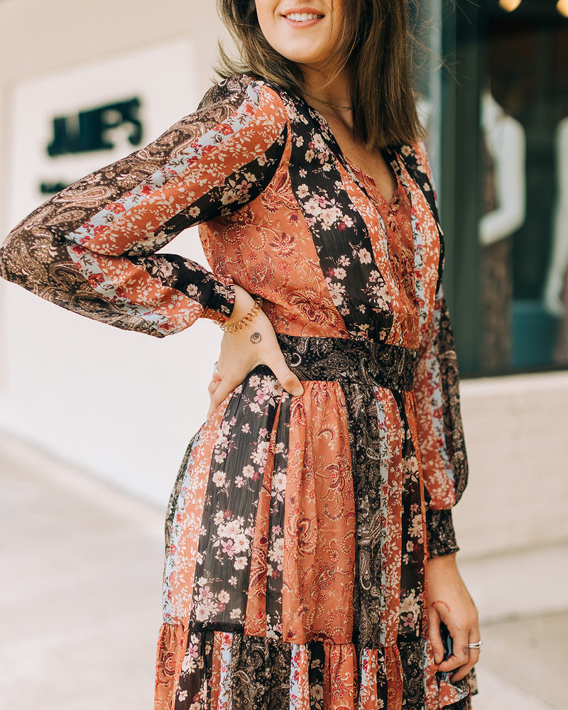 Floral Patchwork Tiered Mini Dress