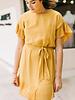 Chloe Pleated Ruffle Sleeve Dress