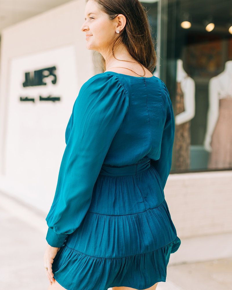 Harper Contrast L/S Tiered Dress