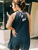 Laila Pleated Mock Neck Halter Dress