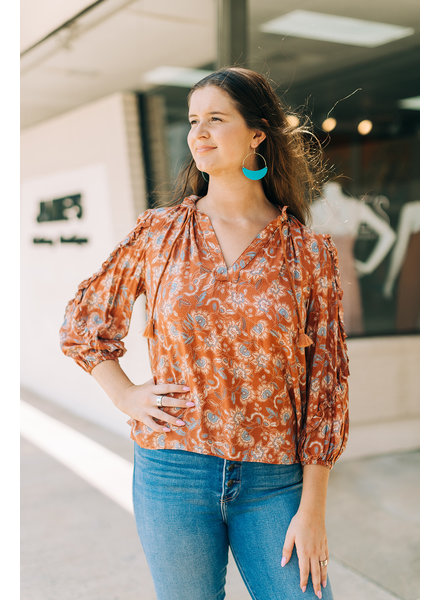 Emery Floral Ruffled L/S Top