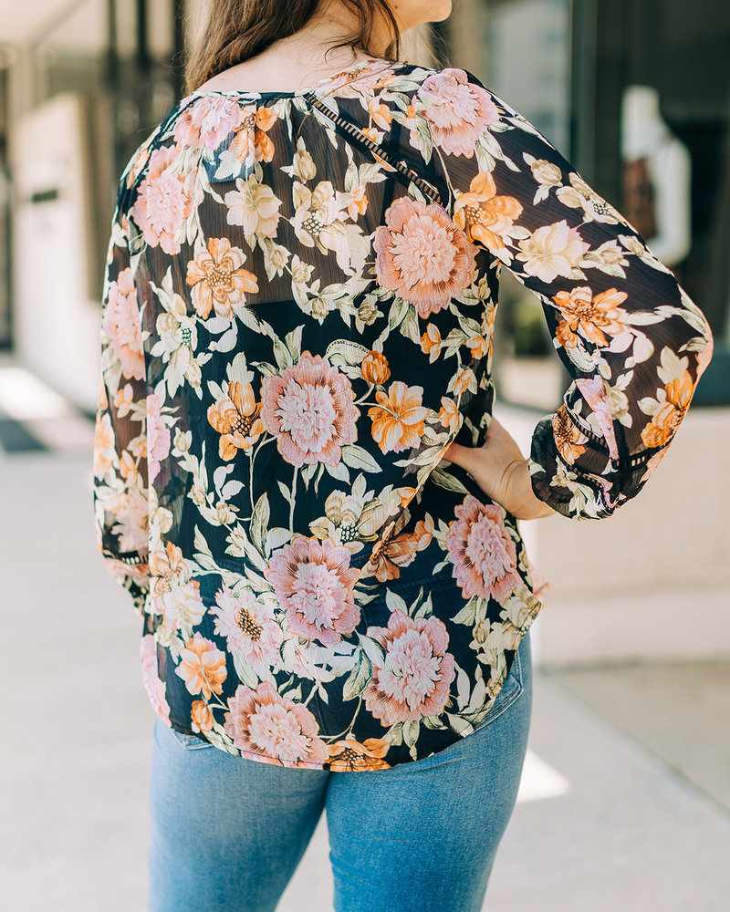 Blossom Sheer Peasant Top