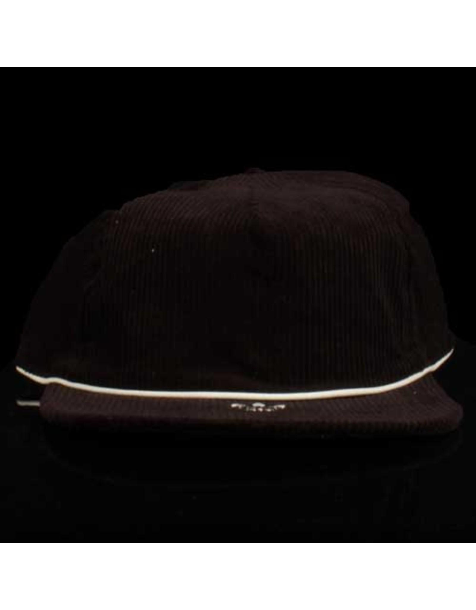 ADIDAS Adidas Hat Corduroy 6 Panel Strapback Black White Embroidery