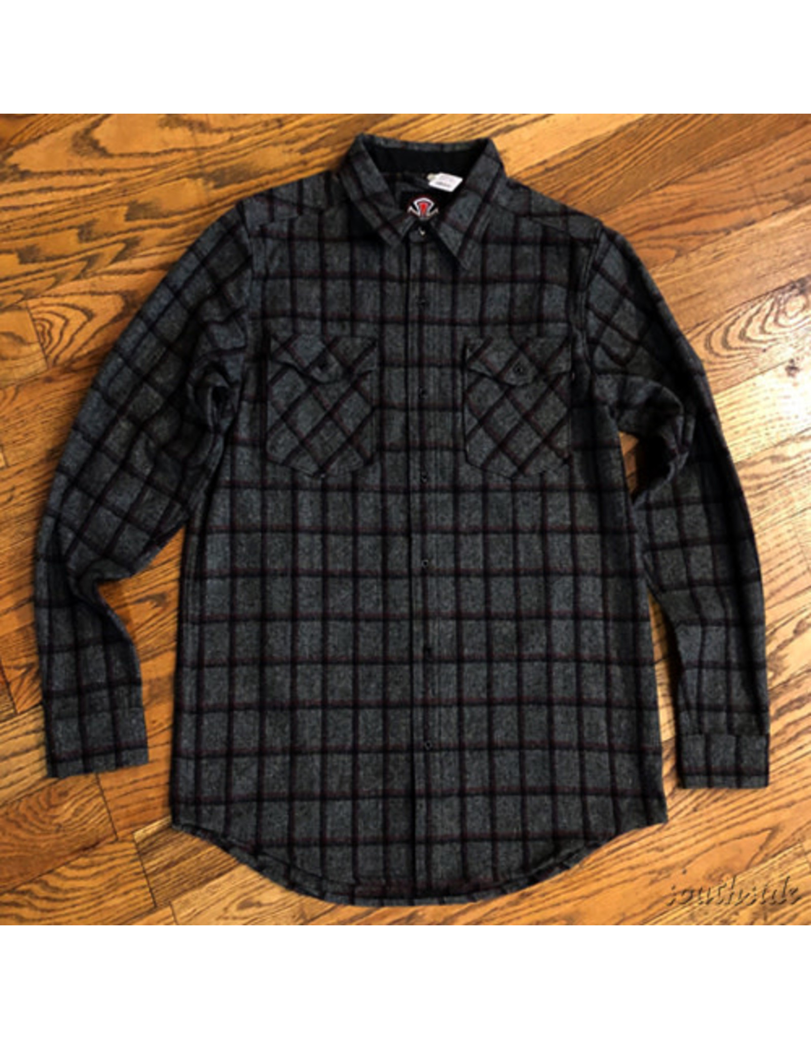Indy Flannel Chainsaw Gray Burgundy