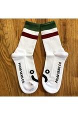 Polar Socks White Burg Green Stripe Size 9-11