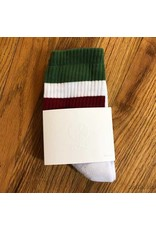 Polar Socks White Burg Green Stripes Size 6-8