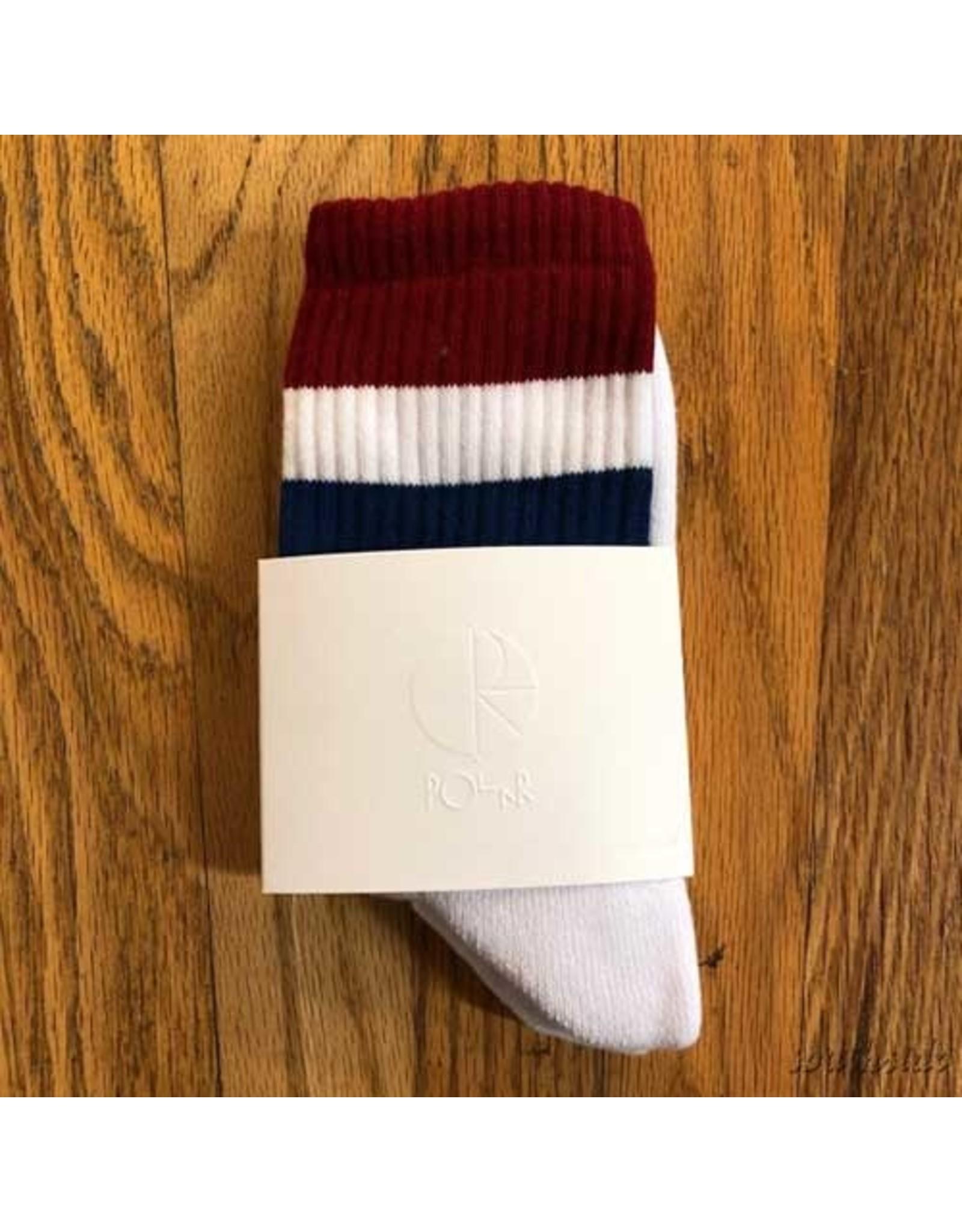 Polar Socks White Burg Navy Stripe Size 6-8