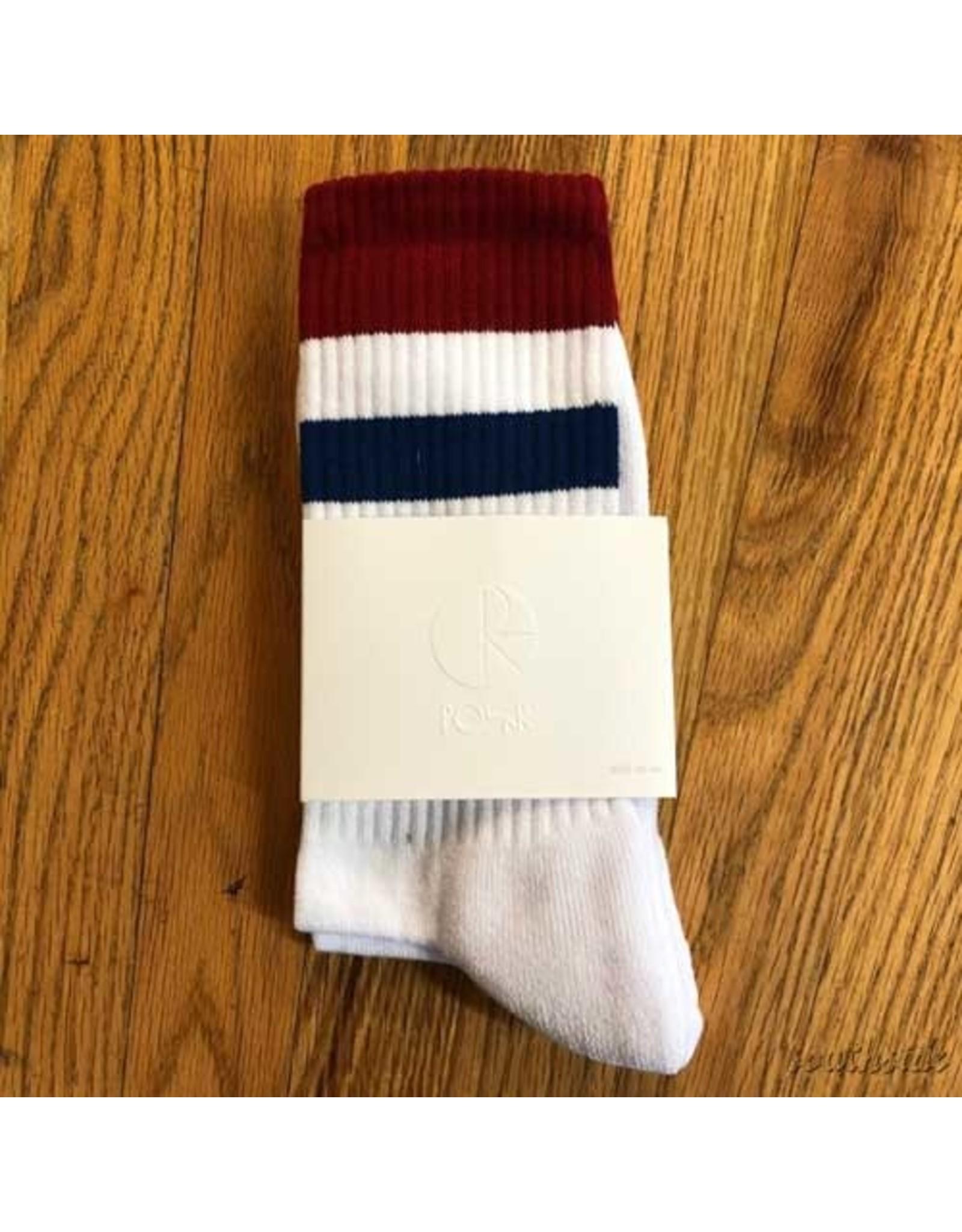 Polar Socks White Burg Navy Stripe Size 9-11