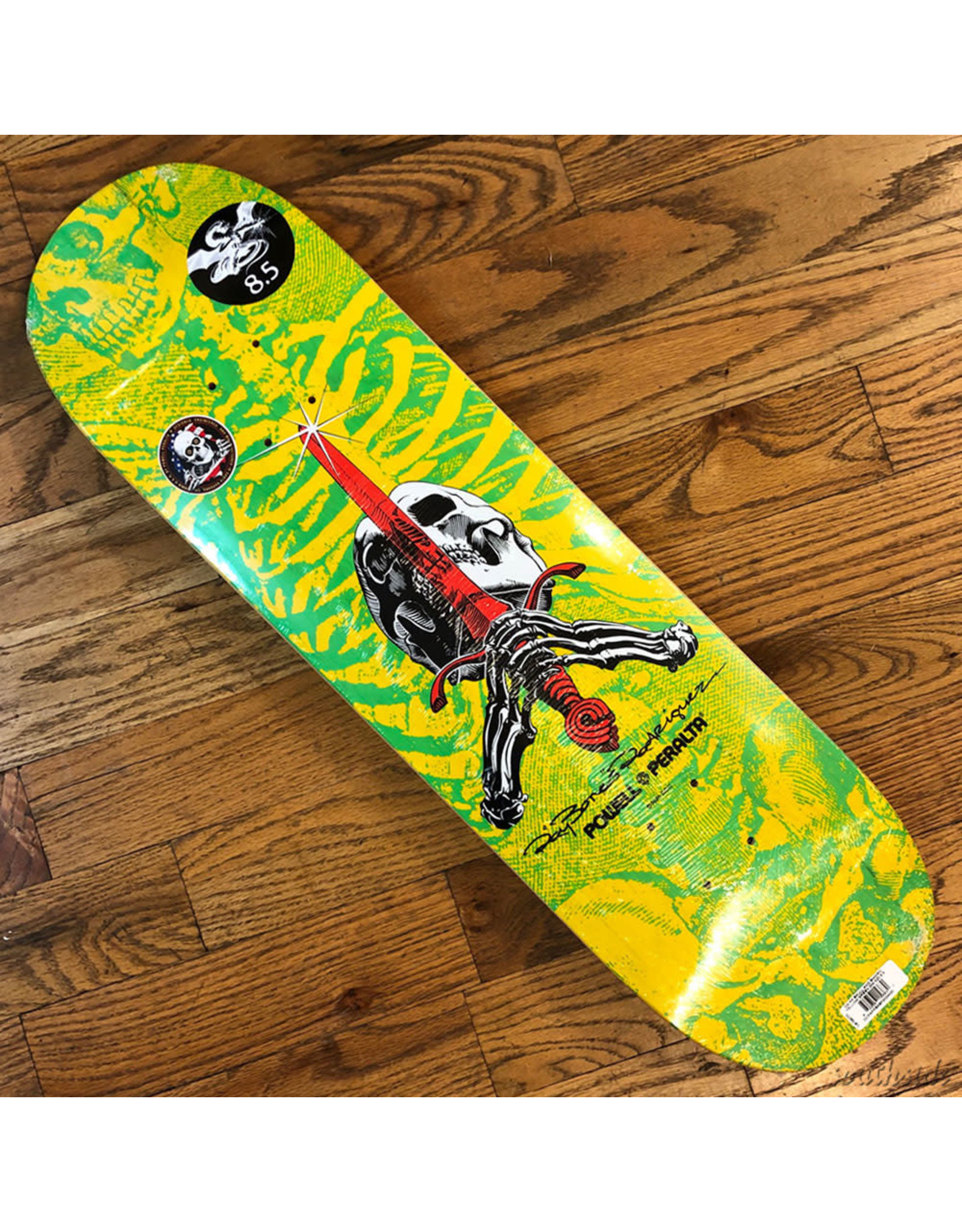 Powell Deck Sword and Skull Yellow Green 8.5x32