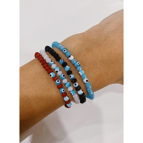 Atelier SYP Minimalist Crystal Bead Bracelet with Evil Eye