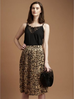 C'est Moi Animal Print Pleated Midi Skirt