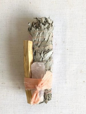 Catherine Rising Rose Quartz + Palo Smudge Stick