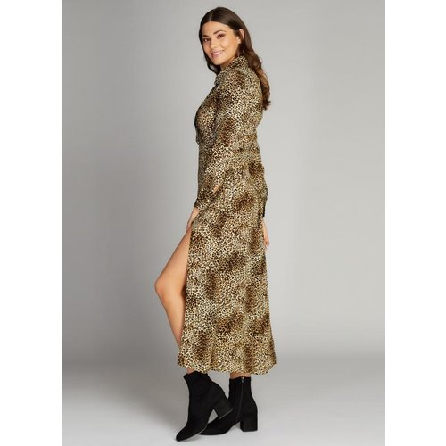C'est Moi Animal Print Slit Button Down Dress