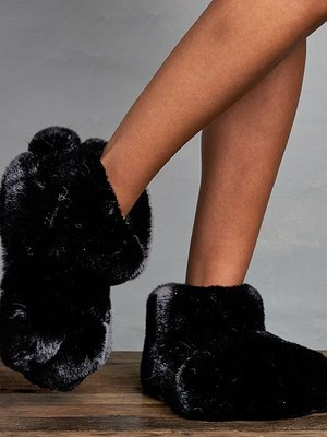 Lemon Loungewear Fur Bunny Paw Slippers