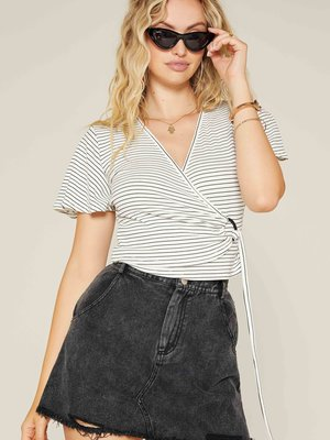 Sadie & Sage Roll Out Wrap Stripe Knit Top