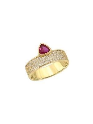 Lili Claspe Trillion Cigar Ring Pave