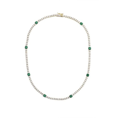 Lili Claspe Zoi Tennis Necklace Emerald