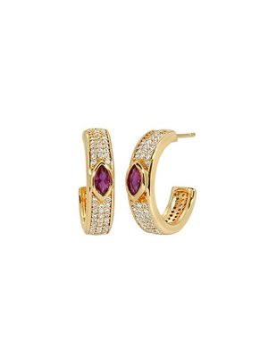 Lili Claspe Marquise Pave Hoops Opal