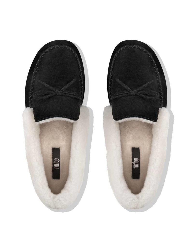 3b21e204549 ... FitFlop FitFlop Womens Clara Shearling Suede Moccasin Slippers Black