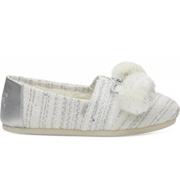 Toms Toms Womens Classic White Silver Woven Pom Pom