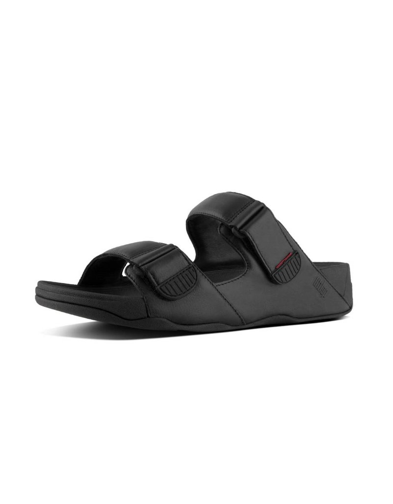 new style 734b0 7e7b7 FitFlop Mens Gogh Moc Slide in Leather Black