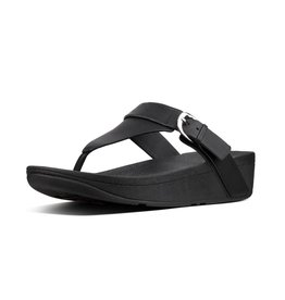 FitFlop FitFlop Womens Edit Leather Adjustable Toe-Thongs Black