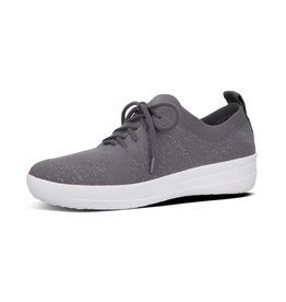 FitFlop FitFlop Womens F-Sporty Uberknit Sneakers Metallic Weave Charcoal Metallic Pewter