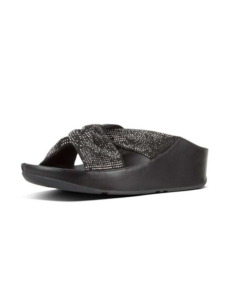 c1d9992e8 FitFlop Womens Twiss Crystal Slide Black - Island Comfort Footwear