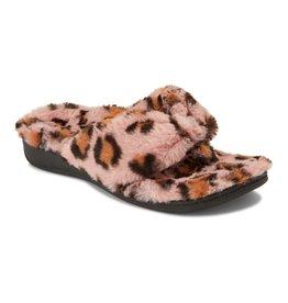 Vionic Vionic Womens Gracie Plush Toe Post Slippers Pink Leopard