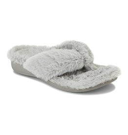 Vionic Vionic Womens Gracie Plush Toe Post Slippers Light Grey