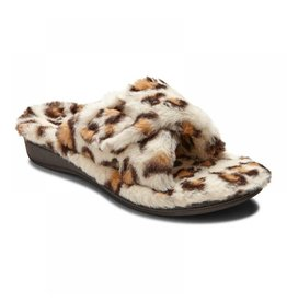 Vionic Vionic Womens Relax Plush Slippers Cream Leopard