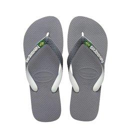 Havaianas Havaianas Mens Brazil Mix Flip Flops Steel Grey White