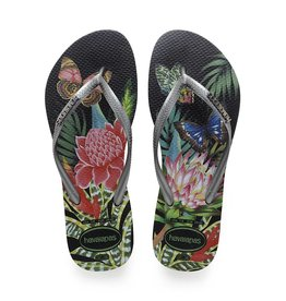 Havaianas Havaianas Womens Slim Tropical Sandal Black Graphite
