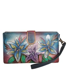 Anuschka Anuschka Two Fold Clutch Wallet Luscious Lilies Denim 1115-LLY-D