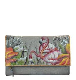 Anuschka Anuschka Three Fold Clutch Flamboyant Flamingos 1136-FFG