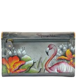 Anuschka Anuschka Three Fold Clutch Flamboyant Flamingos 1136-FFG