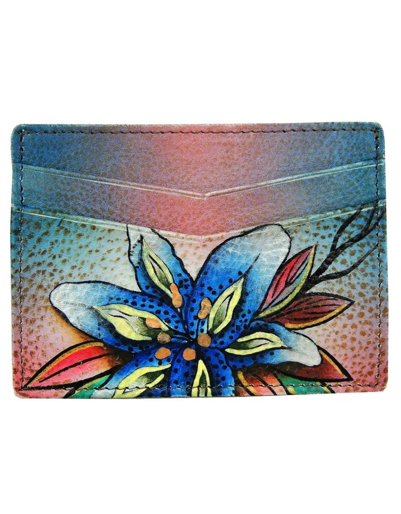 Anuschka Anuschka Credit Card Case Luscious Lilies Denim 1032-LLY-D