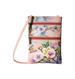 Anuschka Anuschka Mini Double Zip Travel Crossbody Japanese Garden 448-JPG
