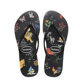 Havaianas Havaianas Womens Slim Wild Animal Print Black Chinese