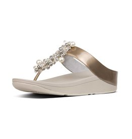 FitFlop FitFlop Womens Deco Toe Thong Sandals Silver