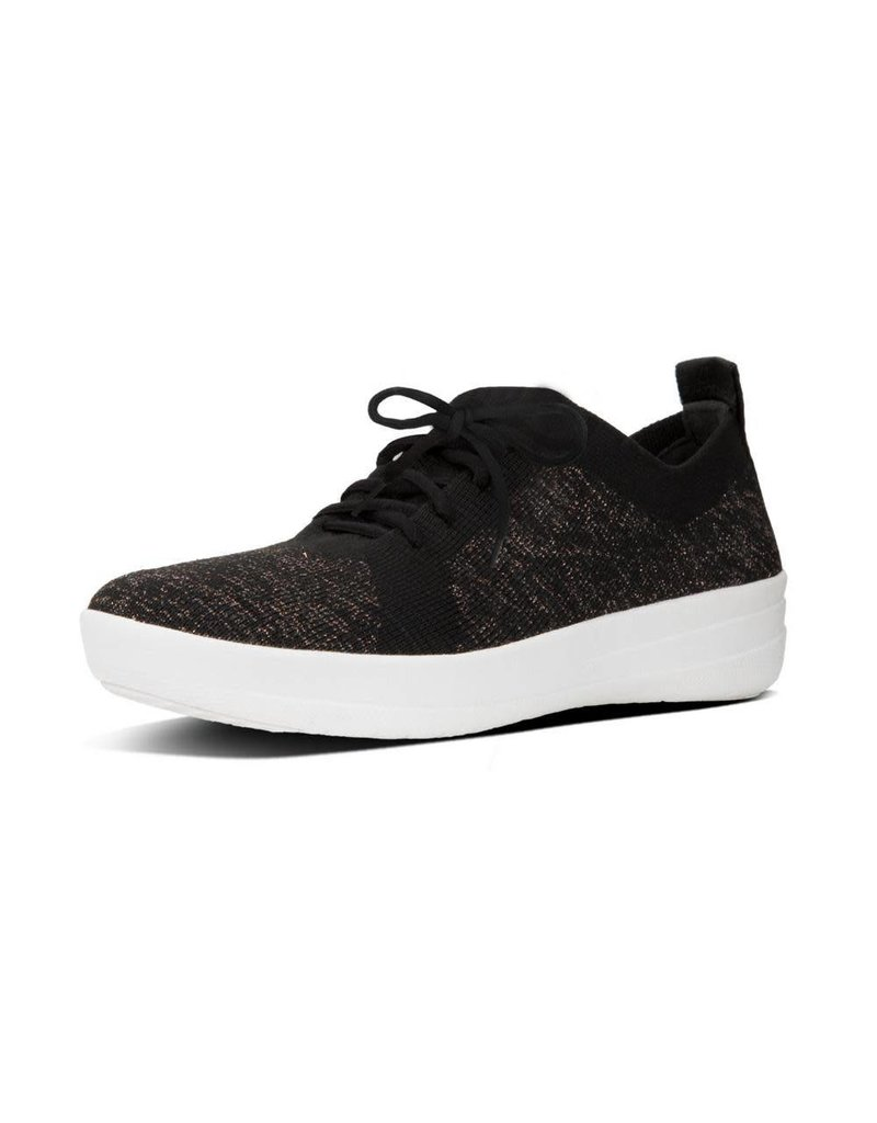 FitFlop FitFlop Womens F-Sporty Uberknit Metallic Weave Sneakers Black Bronze Metallic