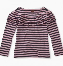 master striped ruffle top