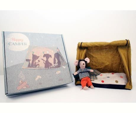 playtime Maileg mouse hiker with tent and flashlight